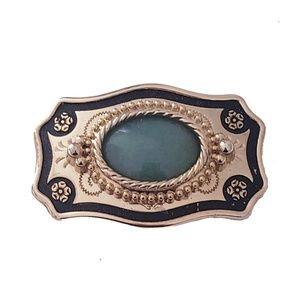 Vintage Jade Cabochon Belt Buckle